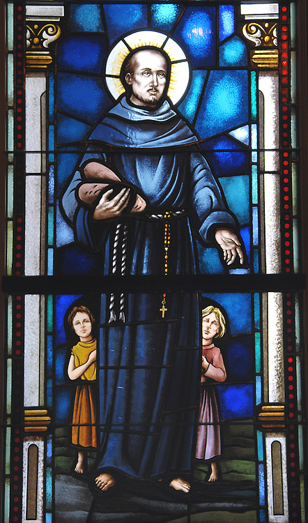 An image of St. Francis Anthony Fasani, depicted in a stained glass window at the Basilica of St. Josaphat in Milwaukee. (Photo by Sam Lucero)