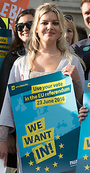 © Licensed to London News Pictures. 21/06/2016. London, UK. Posters and placards are displayed at a Remain campaign event in Trafalgar Square organised via Facebook. There are only two full days of campaigning ahead of the UK EU referendum taking place on Thirsday 23rd June, 2016. Photo credit: Peter Macdiarmid/LNP