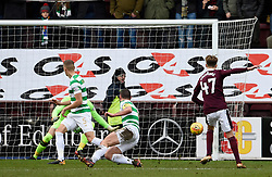 Hearts Harry Cochrane (no 47) scores his side's first goal of the game during the Ladbrokes Scottish Premiership match at Tynecastle Stadium, Edinburgh.