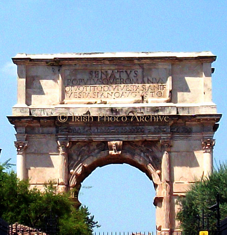 The Arch of Constantine, a triumphal, or victory arch in Rome. It is positioned between the Collosseum and the Palatine Hill. It commemorates Emperor Constantine's victory in the Battle of Milvian Bridge in the early 4th century AD. It was dedicated in 315 AD and features reliefs/friezes documenting previous Emperors and victory figures.