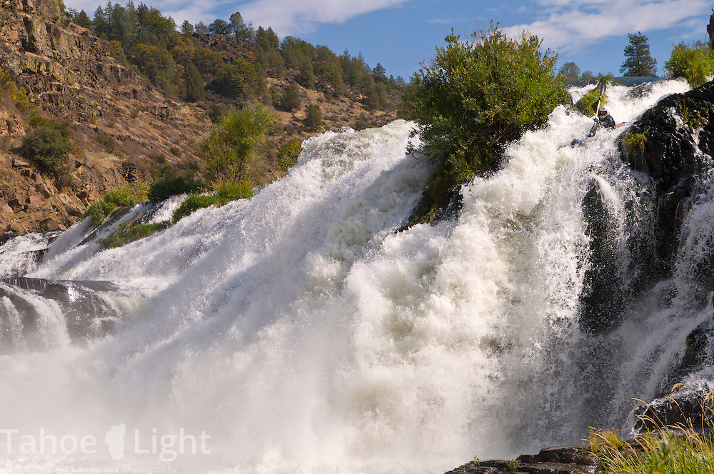 Scott Sady kayaking the pit river falls near Mt. Shasta, CA.