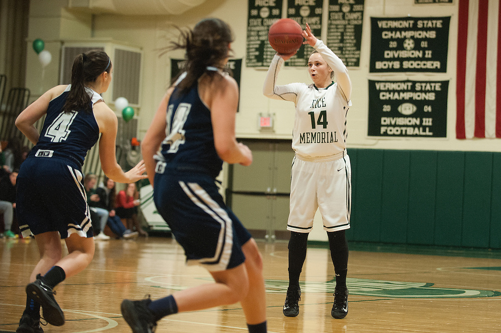 Rice's Lisa Sulejmani (14) takes a shot during the girls basketball game between the Burlington Sea Horses and the Rice Green knights at Rice Memorial high school on Thursday night February 18, 2016 in South Burlington. (BRIAN JENKINS/for the FREE PRESS)