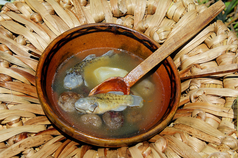 South America, Bolivia, Lake Titicaca. Fish soup of floating reed islands of Lake Titicaca.