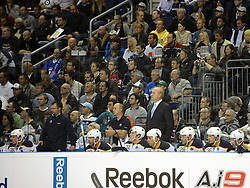 08.10.2011, O2 World, Berlin, Linz, GER, NHL, Buffalo Sabres vs LA Kings, im Bild the Buffalo Sabres bench with Head Coach Lindy Ruff, during the Compuware NHL Premiere, O2 World Berlin, Berlin, Germany, 2011-10-08, EXPA Pictures © 2011, PhotoCredit: EXPA/ Reinhard Eisenbauer