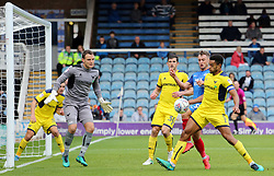 Curtis Nelson of Oxford United shields the ball from Ricky Miller of Peterborough United - Mandatory by-line: Joe Dent/JMP - 30/09/2017 - FOOTBALL - ABAX Stadium - Peterborough, England - Peterborough United v Oxford United - Sky Bet League One
