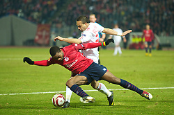 LILLE, FRANCE - Thursday, March 11, 2010: Liverpool's Nabil El Zhar in action against LOSC Lille Metropole during the UEFA Europa League Round of 16 1st Leg match at the Stadium Lille-Metropole. (Photo by David Rawcliffe/Propaganda)