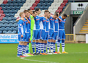 Minutes Silence France during the Sky Bet League 1 match between Rochdale and Wigan Athletic at Spotland, Rochdale, England on 14 November 2015. Photo by Daniel Youngs.
