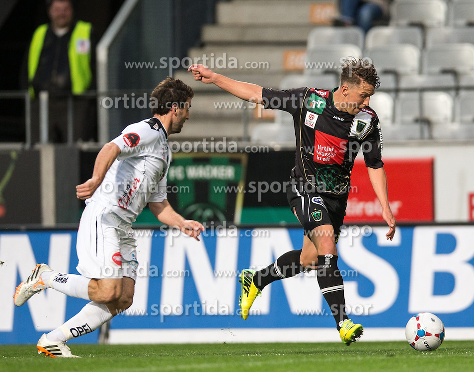 05.04.2014, Tivoli Stadion, Innsbruck, AUT, 1. FBL, FC Wacker Innsbruck vs RZ Pellets WAC, 31. Runde, im Bild (v.l.) Joachim Standfest (WAC) gegen Christopher Wernitznig (Innsbruck) // (v.l.) Joachim Standfest (WAC) gegen Christopher Wernitznig (Innsbruck) during Austrian Football Bundesliga 31th round match between FC Wacker Innsbruck and RZ Pellets WAC at the Tivoli Stadion in Innsbruck, Austria on 2014/04/05. EXPA Pictures © 2014, PhotoCredit: EXPA/ Johann Groder