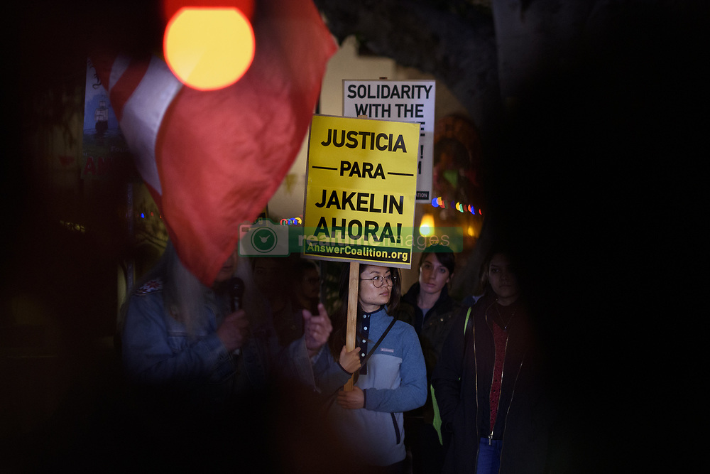 December 17, 2018 - Los Angeles, California, United States - People attend a vigil in memory of Jakelin Caal a 7-year-old Guatemalan girl who died while in U.S. Border Patrol custody. Los Angeles, California on December 17, 2018. Jakelin Caal and her dad were part of a group of migrants who crossed illegally from Mexico into the United States and turned themselves in to Border Patrol. Shortly after being taken into custody, Caal began having seizures and went into cardiac arrest and later died. (Credit Image: © Ronen Tivony/NurPhoto via ZUMA Press)