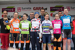 The jersey wearers gather on the podium for a final photo after Stage 2 of the Emakumeen Bira - a 90.8 km road race, starting and finishing in Markina Xemein on May 18, 2017, in Basque Country, Spain. (Photo by Balint Hamvas/Velofocus)