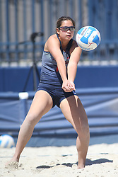 April 7, 2018 - Tucson, AZ, U.S. - TUCSON, AZ - APRIL 07: Arizona Wildcats defender Jonny Baham (11) hits the ball during a college beach volleyball match between the California Golden Bears and the Arizona Wildcats on April 07, 2018, at Bear Down Beach in Tucson, AZ. Arizona defeated California 3-2. (Photo by Jacob Snow/Icon Sportswire (Credit Image: © Jacob Snow/Icon SMI via ZUMA Press)