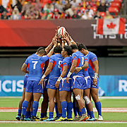Manu Samoa is now playing as one, after a nightmare first game collapse versus Argentina, Samoa decimated England 21-5 at the Canada 7's, Day 1, BC Place, Vancouver, British Columbia, Canada.  Photo by Barry Markowitz, 3/10/18, 4pm