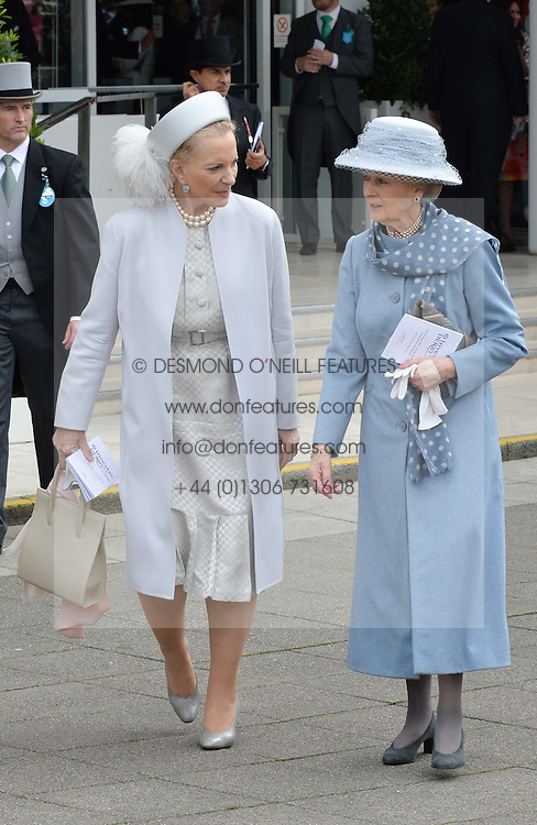 Left to right, HRH PRINCESS MICHAEL OF KENT and HRH PRINCESS ALEXANDRA at the Investec Derby at Epsom Racecourse, Epsom, Surrey on 4th June 2016.