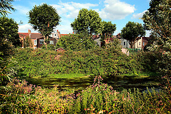 UK ENGLAND LONDON 9AUG06 - Housing and backyard gardens next to the urban river Wandle near Wimbledon in south London.. . jre/Photo by Jiri Rezac. . © Jiri Rezac 2006. . Contact: +44 (0) 7050 110 417. Mobile:  +44 (0) 7801 337 683. Office:  +44 (0) 20 8968 9635. . Email:   jiri@jirirezac.com. Web:    www.jirirezac.com. . © All images Jiri Rezac 2006 - All rights reserved.