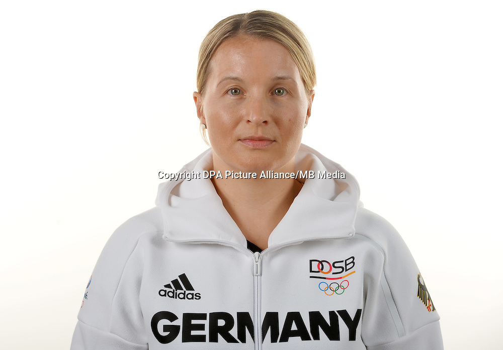 Stephanie Hegenberg poses at a photocall during the preparations for the Olympic Games in Rio at the Emmich Cambrai Barracks in Hanover, Germany. July 07, 2016. Photo credit: Frank May/ picture alliance.   usage worldwide