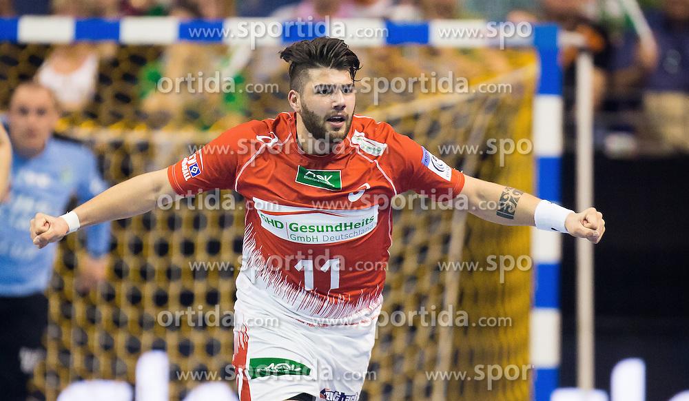 Berlin, Deutschland, 16.05.2015:<br /> Handball EHF Pokal Halbfinale Spiel 1 2014 / 2015 - Skjern Handbold - HSV Hamburg - EHF CUP Finals 2014/15.<br /> <br /> Kevin Herbst (HSV #11) *** Local Caption *** &copy; pixathlon