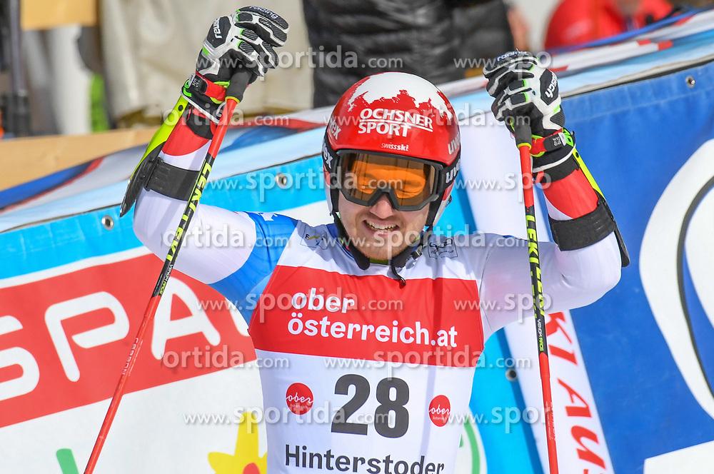 26.10.2019, Hannes Trinkl Weltcupstrecke, Hinterstoder, AUT, FIS Weltcup Ski Alpin, Riesenslalom, Herren, 2. Lauf, im Bild Cedric Noger (SUI) // dCedric Noger of Switzerland reacts after his 2nd run of men's Giant Slalom of FIS ski alpine world cup at the Hannes Trinkl Weltcupstrecke in Hinterstoder, Austria on 2019/10/26. EXPA Pictures © 2020, PhotoCredit: EXPA/ Erich Spiess