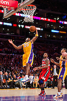 22 March 2013: Guard (20) Jodie Meeks of the Los Angeles Lakers grabs a rebound against the Washington Wizards during the second half of the Wizards 103-100 victory over the Lakers at the STAPLES Center in Los Angeles, CA.