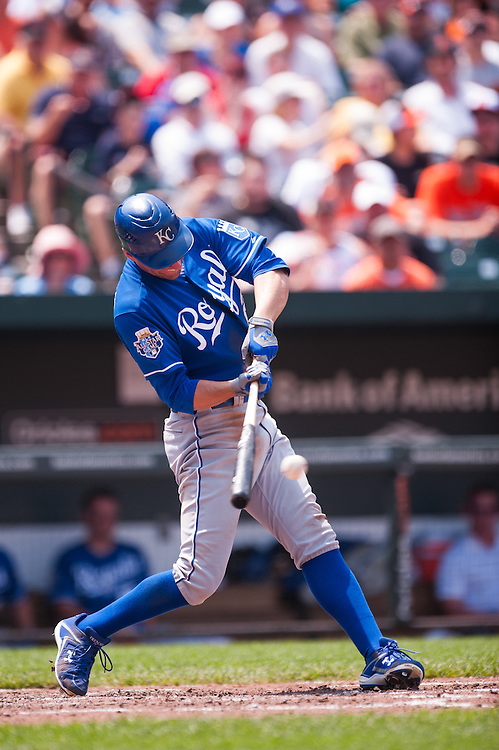 BALTIMORE, MD - MAY 27: Jeff Francoeur #21 of the Kansas City Royals bats during the game against the Baltimore Orioles at Oriole Park at Camden Yards on May 27, 2012 in Baltimore, Maryland. (Photo by Rob Tringali) *** Local Caption *** Jeff Francoeur
