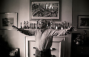 Richard Attenborough-born 1923-, actor,producer,director seen here at his home in Richmond in West London showing off dance moves from his film Chorus Line which he was promoting. Note the number of Oscars,Bafta awards in background. Unseen photographs from a photographic session made for a German magazine and lost until 2010..COPYRIGHT PHOTOGRAPH BY BRIAN HARRIS  ©.07808-579804