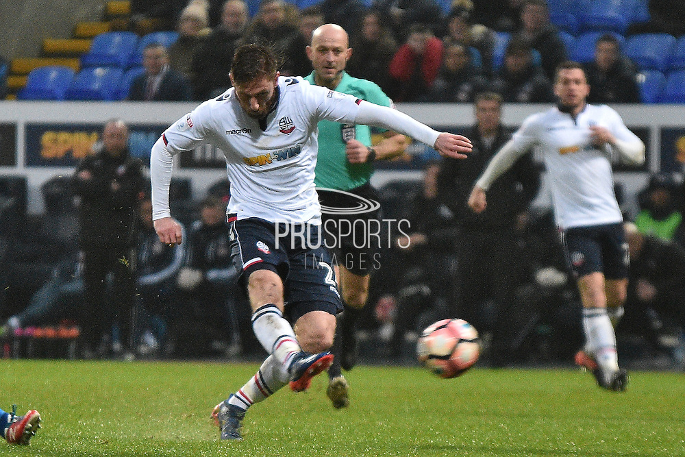 Bolton Wanderers Midfielder, James Henry (24) shoots  during the The FA Cup 3rd round match between Bolton Wanderers and Crystal Palace at the Macron Stadium, Bolton, England on 7 January 2017. Photo by Mark Pollitt.