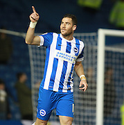 Brighton striker Tomer Hemed celebrates after making it 1-0 during the Sky Bet Championship match between Brighton and Hove Albion and Leeds United at the American Express Community Stadium, Brighton and Hove, England on 29 February 2016. Photo by Bennett Dean.