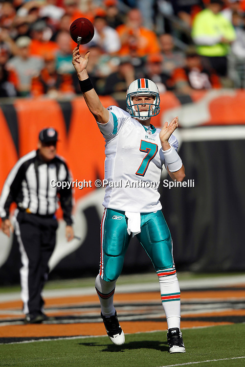 Miami Dolphins quarterback Chad Henne (7) throws a pass during the NFL week 8 football game against the Cincinnati Bengals on Sunday, October 31, 2010 in Cincinnati, Ohio. The Dolphins won the game 22-14. (©Paul Anthony Spinelli)