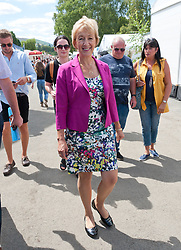 © Licensed to London News Pictures. 25/07/2018. Llanelwedd, Powys, UK. Andrea Leadsom, Leader of the House of Commons Lord President of the Council,visits the Royal Welsh Agricultural Show. The Royal Welsh Agricultural Show is hailed as the largest & most prestigious event of its kind in Europe. In excess of 200,000 visitors are expected this week over the four day show period. The first ever show was at Aberystwyth in 1904 and attracted 442 livestock entries. Photo credit: Graham M. Lawrence/LNP