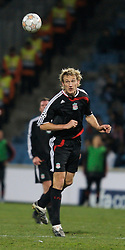 MARSEILLE, FRANCE - Tuesday, December 11, 2007: Liverpool's Sami Hyypia in action against Olympique de Marseille during the final UEFA Champions League Group A match at the Stade Velodrome. (Photo by David Rawcliffe/Propaganda)