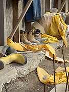 various work clothing at a construction site