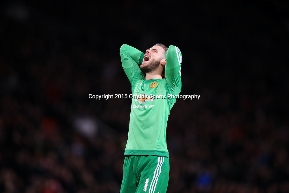 16 December 2015 - Barclays Premier League - Manchester United v Chelsea - Manchester United goalkeeper, David de Gea reacts to a missed opportunity - Photo: Marc Atkins / Offside.