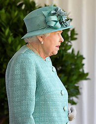 The Queen attends a ceremony to mark her official birthday at Windsor Castle, Windsor, Berkshire, UK, on the 13th June 2020. Picture by: Toby Melville/WPA-Pool. 13 Jun 2020 Pictured: Queen, Queen Elizabeth II. Photo credit: MEGA TheMegaAgency.com +1 888 505 6342