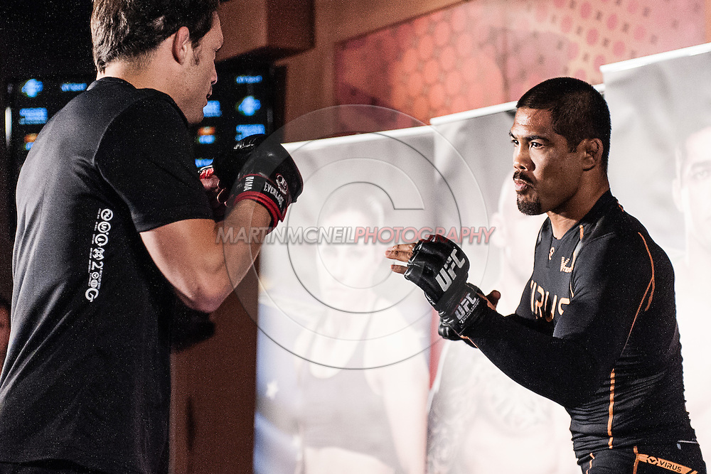 """MANCHESTER, ENGLAND, NOVEMBER 23, 2013: Mark Munoz is pictured at the media open work-out sessions for """"UFC Fight Night 30: Machida vs. Munoz"""" inside Bierkeller Shooter's Sports Bar in The Printworks, Manchester (Martin McNeil for ESPN)"""
