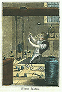 Button Maker: Stamping out metal buttons. Blank held in place and weight holding die for pattern being work was raised by rope and pulley wheel and dropped on blank. Dies for different sizes and patterns on floor. Buttons would need finishing by removal of burrs and imperfections. Hand-coloured woodcut from 'The Book of English Trades' London 1823.