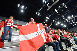 Fans of Denmark celebrates during handball match between National teams of Denmark and Hungary on Day 2 in Preliminary Round of Men's EHF EURO 2018, on Januar 13, 2018 in Skolsko Sportska Dvorana, Varazdin, Croatia. Photo by Mario Horvat / Sportida