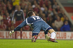 LIVERPOOL, ENGLAND - WEDNESDAY, SEPTEMBER 20th, 2006: Newcastle United's goalkeeper Steve Harper slips as a long range effort from Xabi Alonso goes into the net as Alonso scores from the half-way line during the Premiership match at Anfield. (Pic by David Rawcliffe/Propaganda)