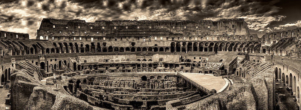 &ldquo;A panoramic view of the Roman Colosseum during evening light - BW&rdquo;&hellip;<br />