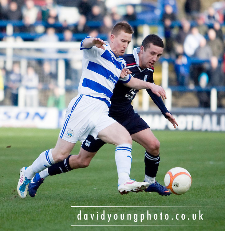 Greenock Morton's Archie Campbell  and Dundee's Ryan Conroy - Greenock Morton v Dundee, Irn Bru Scottish Football League First Division at Cappielow..© David Young - 5 Foundry Place - Monifieth - DD5 4BB - Telephone 07765 252616 - email; davidyoungphoto@ggmail.com - web; davidyoungphoto.co.uk