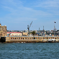 Fort Denison in Sydney, Australia<br /> The indigenous Eora people called this islet Mat-te-wan-ye. After the First Fleet carrying British convicts arrived at Botany Bay in 1778, Admiral Arthur Phillip called it Rock Island. A decade later it was renamed Pinchgut Island and used for gibbeting. This was a form of gallows where condemned convicts were executed and left hanging as a deterrent for other prisoners. In response to the Crimean War, this fortress was built in 1857 to protect Sydney Harbour. Its namesake was William Denison, the Governor of New South Wales from 1855 until 1861. Fort Denison is now part of Sydney Harbour National Park. Tours are available to see the museum, cannons and Martello Tower.