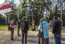 April 29, 2019 - Minsk, Minsk, Belarus - Activists celebrate a holy mass in Kurapaty forest near Minsk, Belarus, on 29 April 2019. Thousands of oppositors of Stalin regimen were executed by the NKVD police in Kurapaty. There were demonstrations of citizens against the  removal of memorial crosses by authorities. (Credit Image: © Celestino Arce/NurPhoto via ZUMA Press)