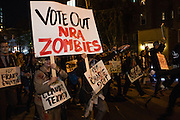 "New York, NY - 31 October 2016. Marchers with Gays Against Guns in the annual Greenwich Village Halloween Parade carried signs such as this one, which reads ""Vote Out NRA Zombies,"" and which often mentioned particular members of congress."