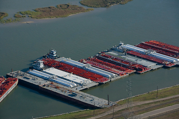 Aerial view of barges docked at the Port of Houston