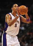 Feb. 4, 2011; Phoenix, AZ, USA; Phoenix Suns forward Channing Frye (8) reacts on the court against the Oklahoma City Thunder at the US Airways Center. The Thunder defeated the Suns 111-107. Mandatory Credit: Jennifer Stewart-US PRESSWIRE.