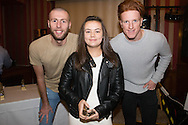 Kennedy Mooney, Monifieth Ladies under 13s players' player of the year pictured with Dundee United's Lewis Toshney and Simon Murray at Monifieth Ladies presentation evening at the Panmure Hotel, Monifieth - Photo: David Young, <br /> <br />  - &copy; David Young - www.davidyoungphoto.co.uk - email: davidyoungphoto@gmail.com