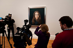 Unveiling of the first official painted portrait of the Duchess of Cambridge on display at the National Portrait Gallery from today, painted by artist Paul Elmsley, London, UK, January 11, 2013. Photo by Nils Jorgensen / i-Images.