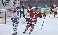 Ishockey , Get - ligaen ,<br /> 22.11.2012 <br /> Kristins Hall<br /> Lillehammer I.K  v Sparta Sarpsborg <br /> Foto:Dagfinn Limoseth  -  Digitalsport<br /> Fredrik Abrahamsson  , Sparta og en jublende Stefan Sjödin , Lillehammer