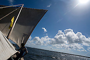 Boy on sailboat, dhow, off Lamu Island, Kenya, Africa