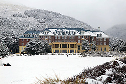 Snow blankets the Chateau Tongariro, National Park, New Zealand, Wednesday, July 12, 2017 , 2017. Credit:SNPA / Cameron Avery **NO ARCHIVING**