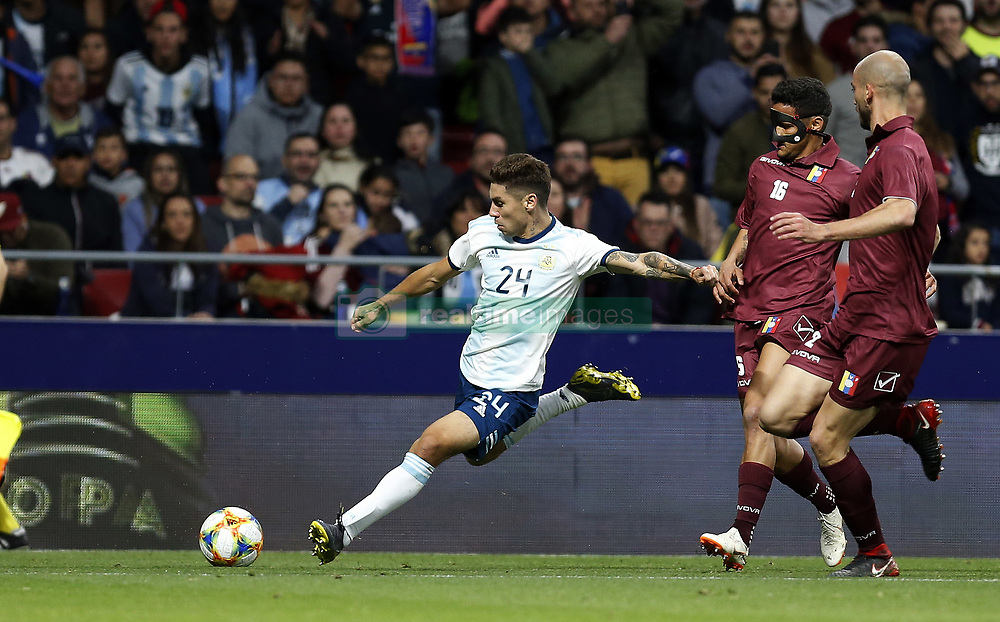 March 22, 2019 - Madrid, Madrid, Spain - Argentina's Gonzalo Montiel seen in action during the International Friendly match between Argentina and Venezuela at the wanda metropolitano stadium in Madrid. (Credit Image: © Manu Reino/SOPA Images via ZUMA Wire)