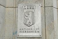 18 APR 2005, BERLIN/GERMANY:<br /> Schild Amtsgericht Tiergarten am Eingang des Amtesgerichtes<br /> IMAGE: 20050418-01-001<br /> KEYWORDS: sign